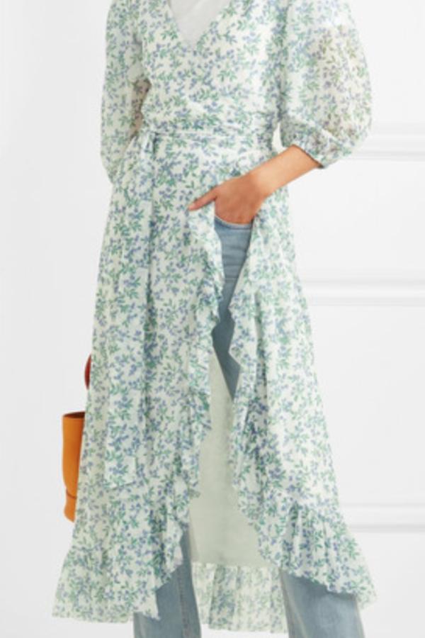 Ganni Tilden floral-print mesh wrap  3