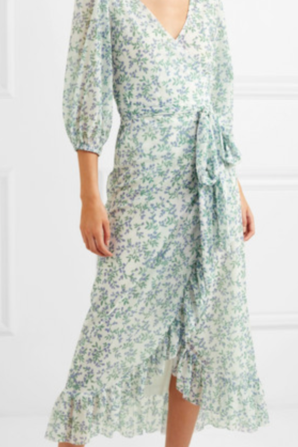 Ganni Tilden floral-print mesh wrap  4