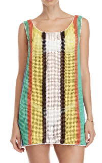 Diane Von Furstenberg Open knit tank dress swim cover up 3 Preview Images