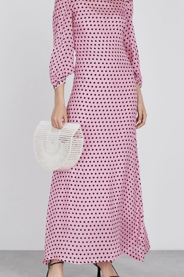 Olivia Rubin Pink and black spot maxi dress 1 Preview Images