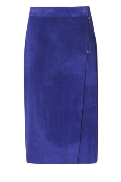 LK Bennett Reilley Wrap Leather Skirt, Violet