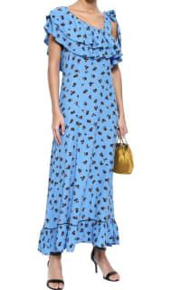 Ganni Roseburg one-shoulder floral-print washed-crepe maxi dress 2 Preview Images