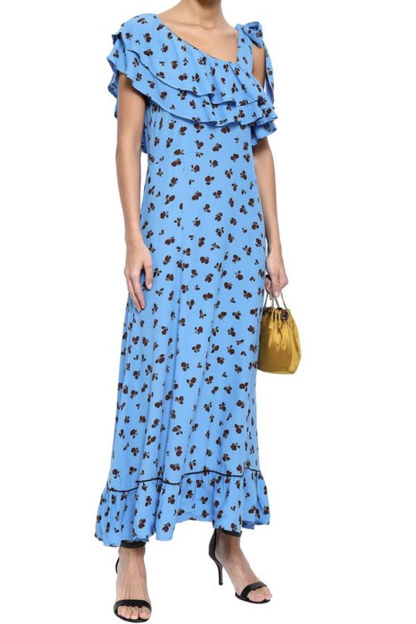 Ganni Roseburg one-shoulder floral-print washed-crepe maxi dress 2