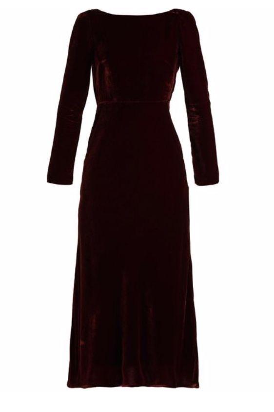 Saloni Tina Boat-Neck Velvet Dress 4 Preview Images