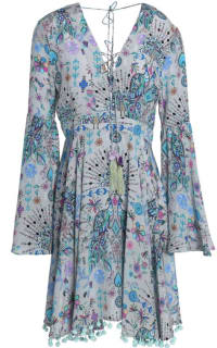 Matthew Williamson Gray Lace-up Pompom-trimmed Printed Silk Crepe De Chine Dress Preview Images