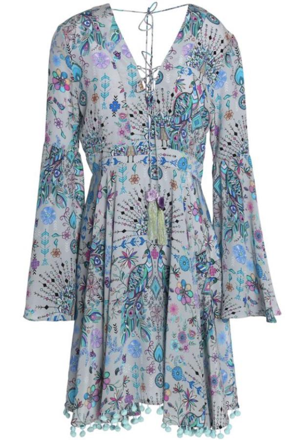 Matthew Williamson Gray Lace-up Pompom-trimmed Printed Silk Crepe De Chine Dress