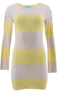 Melissa Odabash Yellow Maddie Striped-knit Mini Dress 5 Preview Images