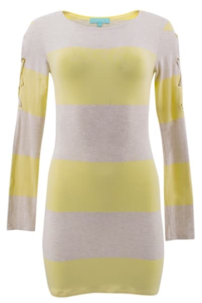 Melissa Odabash Yellow Maddie Striped-knit Mini Dress 5