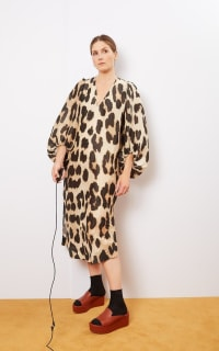 Ganni Leopard Puff Sleeve  2 Preview Images