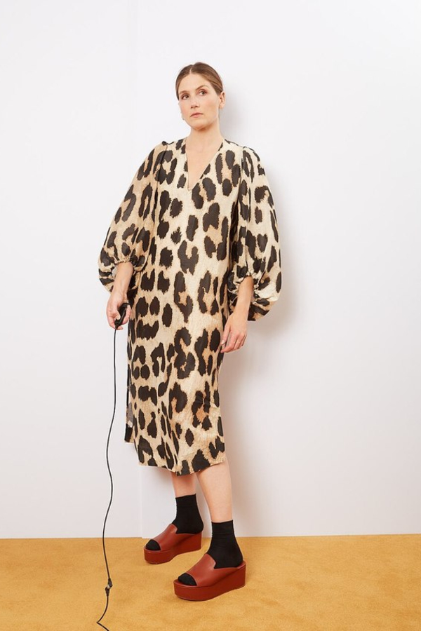Ganni Leopard Puff Sleeve  2