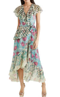 Temperley London Ruffled printed jacquard midi wrap dress 2 Preview Images