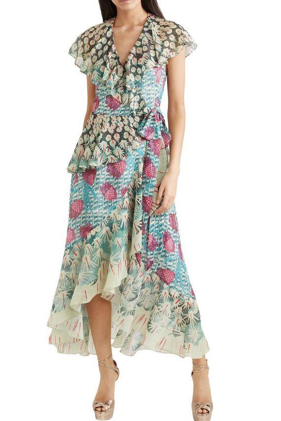Temperley London Ruffled printed jacquard midi wrap dress 2 Preview Images