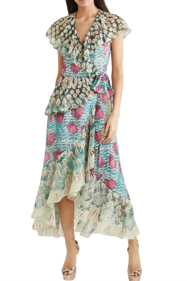 Temperley London Ruffled printed jacquard midi wrap dress 2