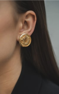 Christian Dior Gold logo Clip on Earrings 2 Preview Images