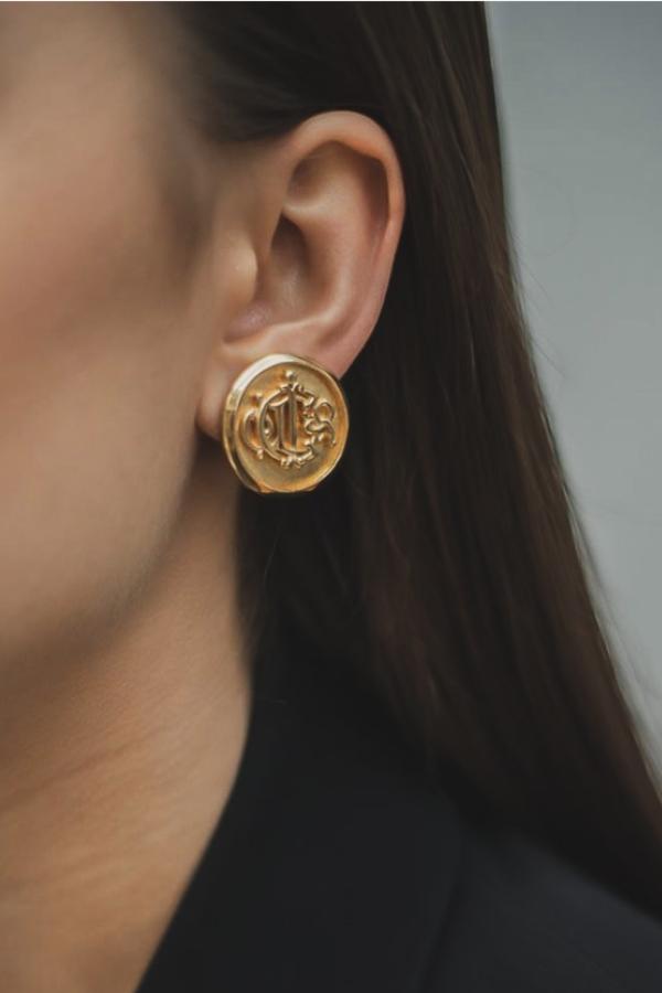 Christian Dior Gold logo Clip on Earrings 2