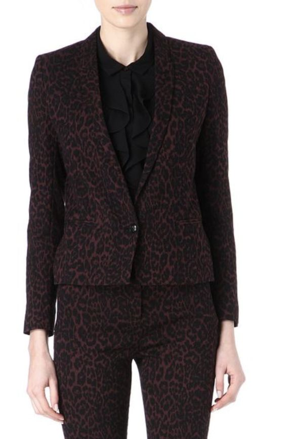 The Kooples Burgundy & Black Animal Print Blazer  3 Preview Images