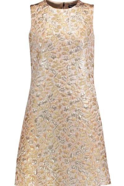 Dolce & Gabbana Metallic Embroidered Faille Dress  6