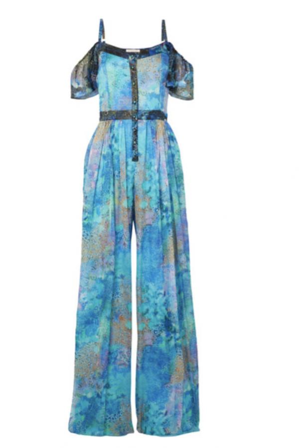 Matthew Williamson Ocean Odyssey cold-shoulder printed silk-chiffon jumpsuit