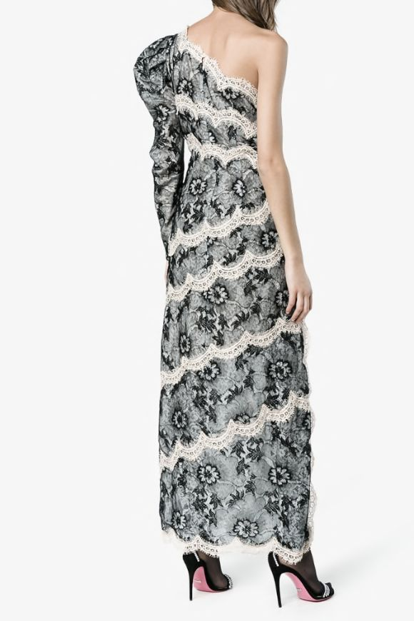 Alessandra Rich One Shoulder Lace Dress 3 Preview Images
