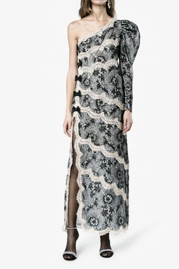 Alessandra Rich One Shoulder Lace Dress 2 Preview Images