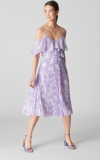 Whistles Batik Lily Print Pleated Skirt 2 Preview Images