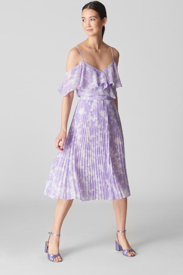 Whistles Batik Lily Print Pleated Skirt 2
