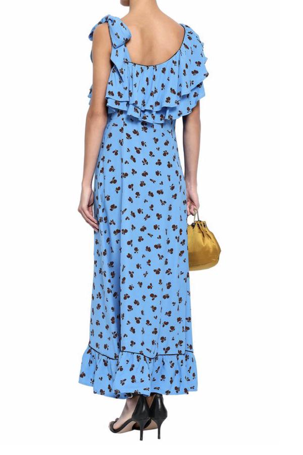 Ganni Roseburg one-shoulder floral-print washed-crepe maxi dress 3
