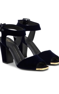 Giuseppe Zanotti Emmanuelle Velvet Blu Sandals  Preview Images