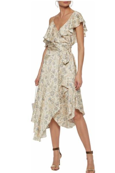 Zimmermann Asymmetric ruffled floral-print silk wrap midi dress