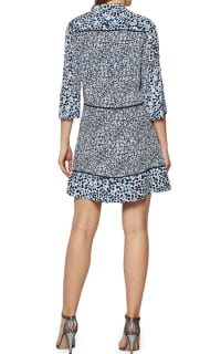Reiss Anush Blue Floral Printed Tea Dress 4 Preview Images