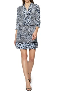 Reiss Anush Blue Floral Printed Tea Dress 2 Preview Images