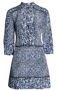 Reiss Anush Blue Floral Printed Tea Dress Preview Images
