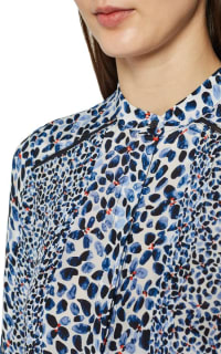 Reiss Anush Blue Floral Printed Tea Dress 3 Preview Images