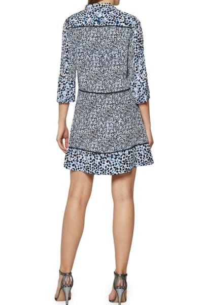 Reiss Anush Blue Floral Printed Tea Dress 4