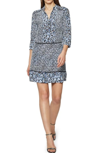 Reiss Anush Blue Floral Printed Tea Dress 2