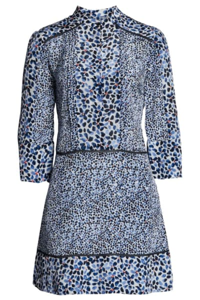 Reiss Anush Blue Floral Printed Tea Dress