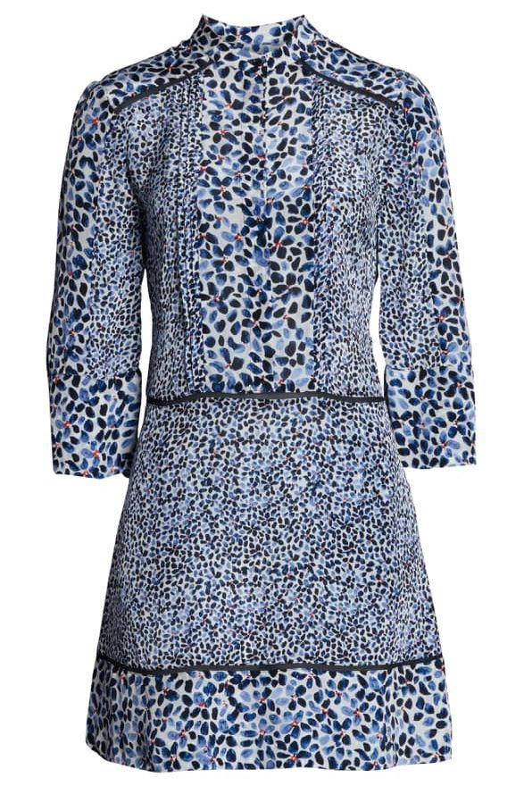 Reiss Anush Blue Floral Printed Tea Dress Preview Images
