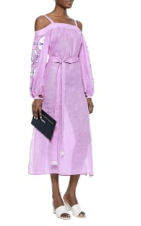 March11 Cold-shoulder belted embroidered linen midi dress 2 Preview Images