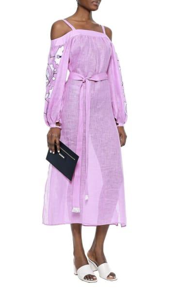 March11 Cold-shoulder belted embroidered linen midi dress 2