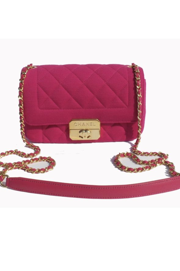 Chanel Hot Pink Quilted Jersey Mini Flap Bag 6