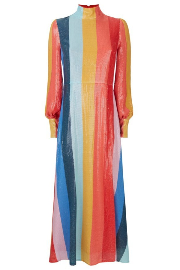 Olivia Rubin Maddie rainbow midi dress