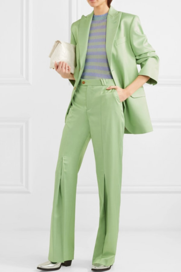 Image 4 of Acne Studios satin pleated flare trousers