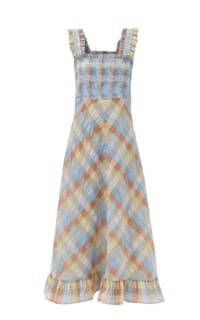 Ganni Seersucker Check Maxi Dress Preview Images