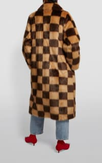 Stand Studio Nino Checked Faux Fur Coat 4 Preview Images