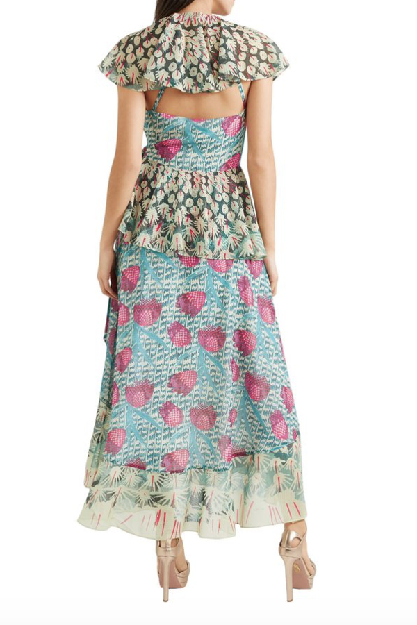 Temperley London Ruffled printed jacquard midi wrap dress 3