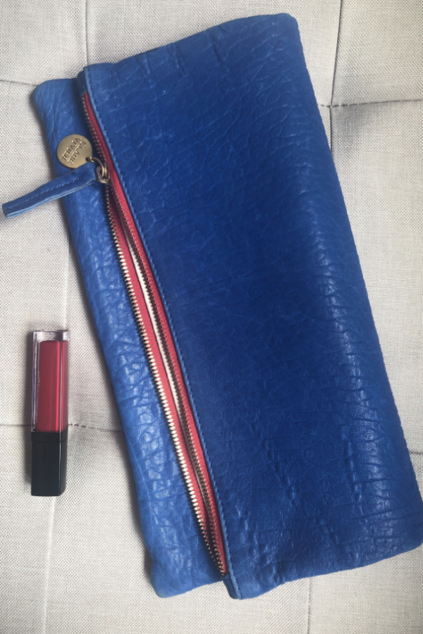 Clare V. Blue and red clutch 8