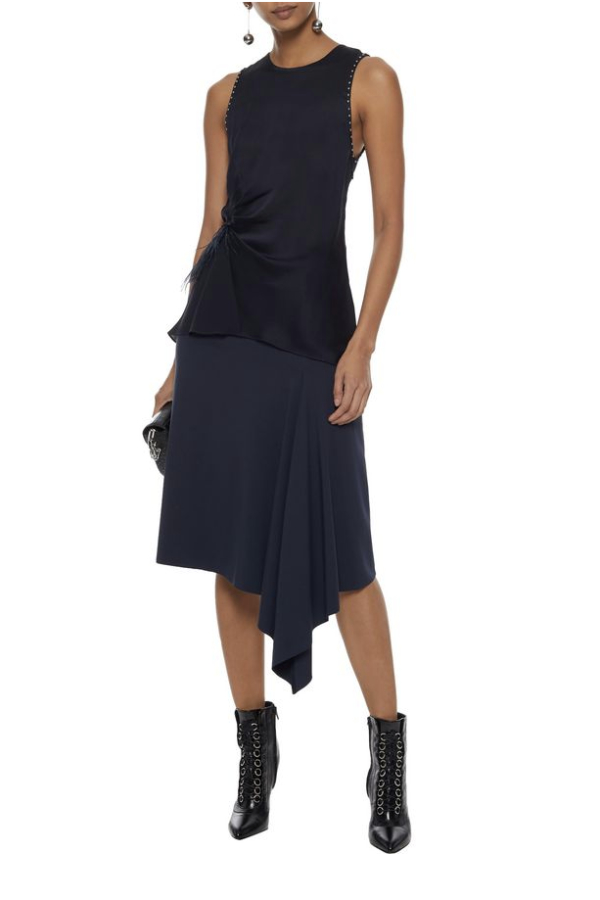 3.1 Phillip Lim Feather-trimmed studded silk crepe de chine top 2