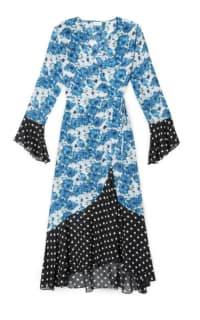 RIXO London Luna Blue Diana Floral Mono Spot Dress Preview Images
