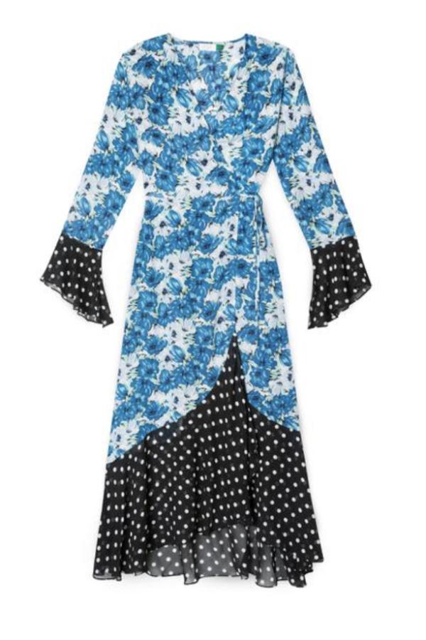 RIXO London Luna Blue Diana Floral Mono Spot Dress