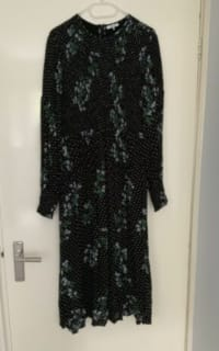 Ganni Rometty Floral Print Georgette Smocked Midi Dress 2 Preview Images